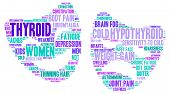 image of fibromyalgia  - Mood swing thyroid word cloud on a white background in the thyroid cancer ribbon colours - JPG