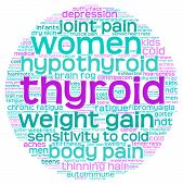 stock photo of fibromyalgia  - Circle shaped thyroid word cloud on a white background - JPG