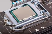 stock photo of processor socket  - CPU socket on motherboard with installed a processor - JPG