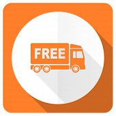 pic of free-trade  - free delivery orange flat icon transport sign  - JPG