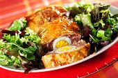 stock photo of meatloaf  - Meatloaf with boiled eggs in puff pastry - JPG