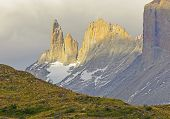 foto of andes  - The Horns of Blue in Evening Light in Torres del Paine National Park in the Chilean Andes of Patagonia - JPG