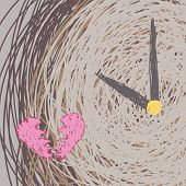 picture of pass-time  - Broken heart time is pass free hand line vector drawing - JPG