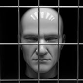 foto of caboose  - Man behind bars in jail - JPG