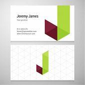 foto of letter j  - Modern letter J origami Business card template - JPG