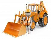 stock photo of backhoe  - 3d white people - JPG
