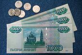 The Russian Money For Dark Blue Background