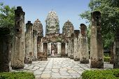 Tourist Looking At Sukhothai Temple poster