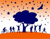 image of summer fun  - People having summer fun under a tree with stars - JPG