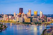 Pittsburgh, Pennsylvania, USA skyline at dusk. poster