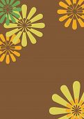 Brown, Yellow & Orange Retro Floral Background