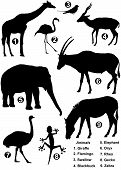 Nine Detailed Silhouettes Of Various Wild Animals poster