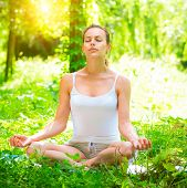 Yoga. Young Woman doing Yoga Exercises Outdoors. Beautiful Girl practicing yoga in the park. Relaxat poster