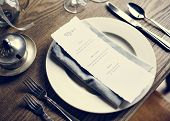 Elegant Restaurant Table Setting Service for Reception with Menu Card poster