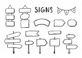 Wooden Signages, Road Signs, Direction Signs, Flags, Arrows Doodle Icons Set Hand Drawn Vector Illus poster