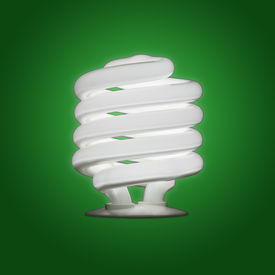 stock photo of stewardship  - A single compact flourescent energy efficient bulb shining against a green gradient background  - JPG
