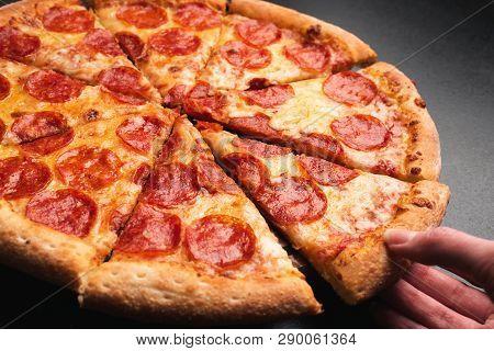 Taking Slice Of Pepperoni Pizza Tasty Pepperoni Pizza On