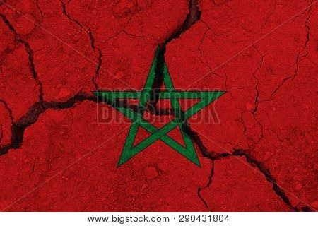 Morocco Flag On The Cracked