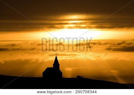 poster of Aerial View Of Vik City In Southern Iceland.vik Is A Small Town Near Reynisfjara Coast.vik Church Is