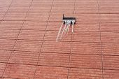 Snowy Solar Panels On The Roof Of A House. Snow And Ice Melts From Rooftop Solar Panels. The Sun Shi poster