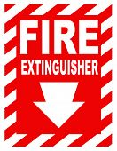 ein Feuerlöscher Lage Zeichen für den Einsatz in jede Sicherheit Inferenz.
