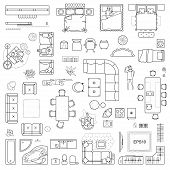 Floor Plan Icons Set For Design Interior And Architectural Project (view From Above). Furniture Thin poster