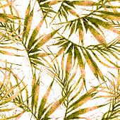 Tropical Seamless Pattern. Watercolor Chaotic Palm Leaves, Japanese Bamboo. Green Exotic Swimwear De poster