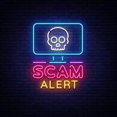 Scam Alert Neon Sign Vector. Scam Alert Design Template Neon Signboard, Light Banner, Neon Signboard poster