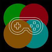 Video Game Controller Icon - Joystick, Game Play Icon. Thin Line Pictogram - Outline Editable Stroke poster