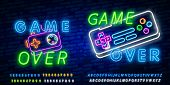 Game Over Neon Text Vector. Game Over Neon Sign, Gaming Design Template, Modern Trend Design, Night  poster