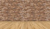 Empty Room With Brown Wooden Floor And Old Red Brick Wall. Empty Loft Room For Design Interior. Long poster