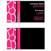 Pink & Black Giraffe Business Cards