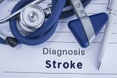 The Diagnosis Of Stroke. Paper Medical History With Diagnosis Of Stroke, On Which Lie Blue Stethosco poster