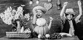 Elementary School Fall Festival Idea. Autumn Harvest Festival. Children Play Vegetables Pumpkin Cabb poster