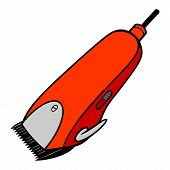 Electrical Hair Clipper - A Vector Cartoon Illustration Of A Pair Of Barber Electrical Hair Clippers poster