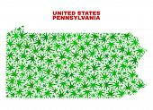 Vector Cannabis Pennsylvania State Map Mosaic. Concept With Green Weed Leaves For Weed Legalize Camp poster