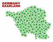 Vector Marijuana Saarland Land Map Collage. Concept With Green Weed Leaves For Marijuana Legalize Ca poster
