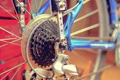 Detail Of Change- Speed On Bicycle. Bike Speed Changing Assembly. Rear Wheel. Steel Bicycle Chain. T poster