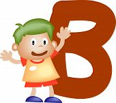 Boy With Alphabet Letter B