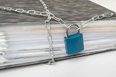 Files Locked With Chain And Padlock - Data And Privacy Security Concept poster