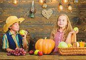 Kids Girl Boy Fresh Vegetables Harvest Rustic Style. Children Presenting Harvest Vegetable Wooden Ba poster