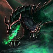 Fantasy Illustration Dragon In A Cave Breathes Fire  Green Fire poster