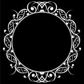 black and white oval frame