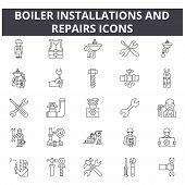 Boiler Installations And Repairs Line Icons For Web And Mobile Design. Editable Stroke Signs. Boiler poster