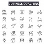 Business Coaching Line Icons For Web And Mobile Design. Editable Stroke Signs. Business Coaching  Ou poster