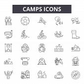 Camps Line Icons For Web And Mobile Design. Editable Stroke Signs. Camps  Outline Concept Illustrati poster
