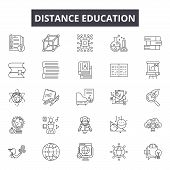 Distance Education Line Icons For Web And Mobile Design. Editable Stroke Signs. Distance Education   poster