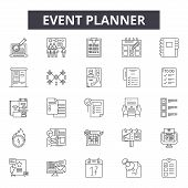 Event Planner Line Icons For Web And Mobile Design. Editable Stroke Signs. Event Planner  Outline Co poster