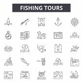 Fishing Tours Line Icons For Web And Mobile Design. Editable Stroke Signs. Fishing Tours  Outline Co poster