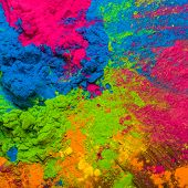 Holi Colorful festival of colored paints of powders and dust. colorful background. Holiday bright co poster